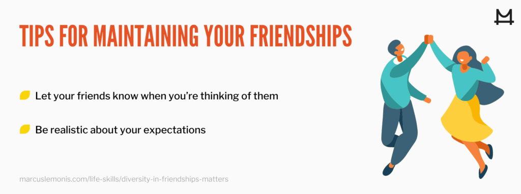 List of tips for maintaining your friendships