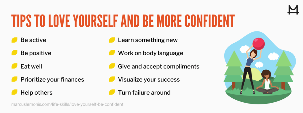 List of tips to help you love yourself and be more confident