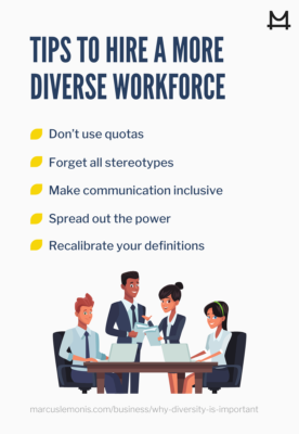 List of tips to hire a more diverse workforce