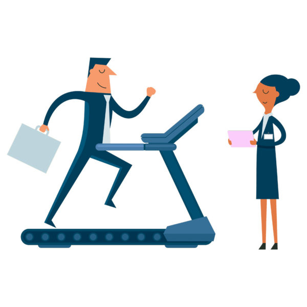 graphic of man on treadmill being trained for the new product launch and the strategy