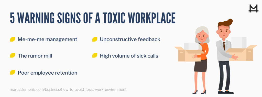 image of 5 warning signs of a toxic workplace