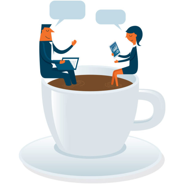 image of male and female coworkers sitting inside a coffee cup