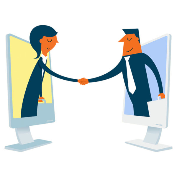 Image of two people shaking hands through a computer screen