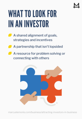 Image that describes what to look for in an investor