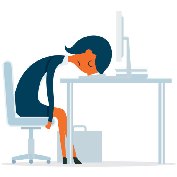 Image of a woman falling asleep at her desk