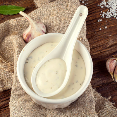 Image of a bowl with garlic aioli sauce