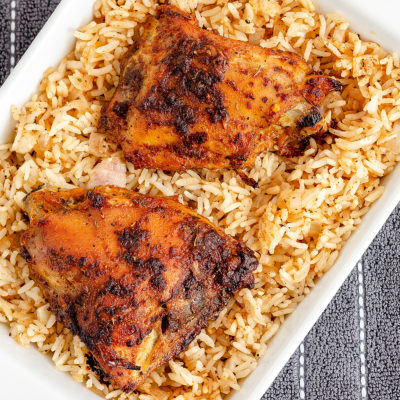 Final look at chicken and rice dish straight from the oven