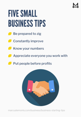 List of five small business tips