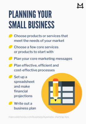 List of ways that you can start planning your small business