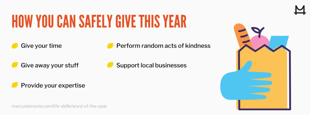 List of ways you can safely give this year