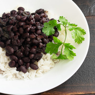 Image of a plate of rice and beans