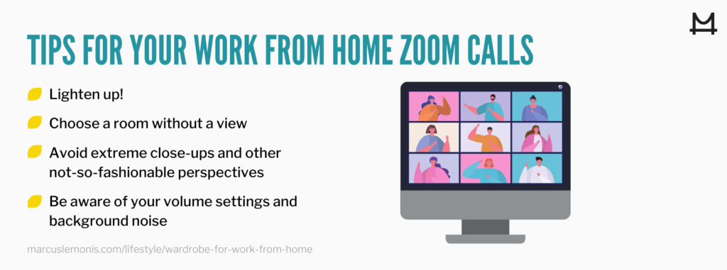 List of tips for your work form hoe zoom calls