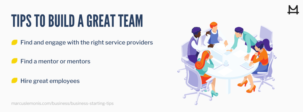 List of tips on how to build a great team